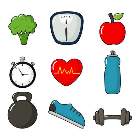 fitness icons set healthy lifestyle isolated on white background. vector Illustration. Ilustrace