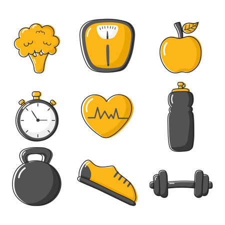 fitness icons set healthy lifestyle isolated on white background. vector Illustration. Illusztráció