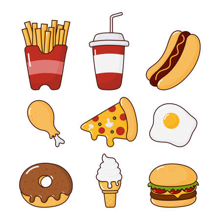 fast food snacks icons set. drinks and dessert isolated on white background. vector Illustration. Foto de archivo - 135076255