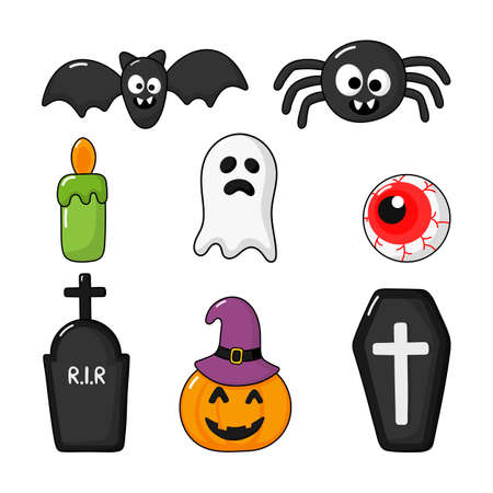 Collection of happy halloween icons set isolated on white background. vector Illustration.