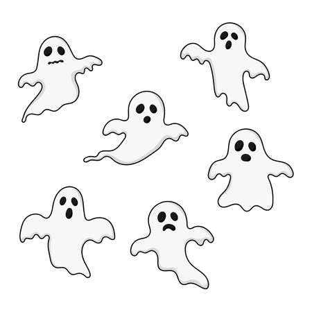 happy halloween ghosts set icons. scary, spirit isolated on white background. vector illustration.