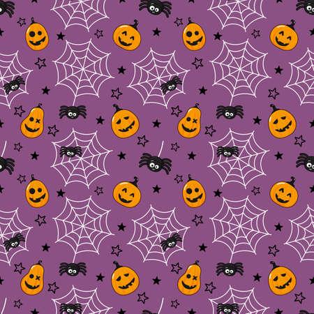 seamless pattern cartoon happy halloween. spider, cobweb and pumpkin isolated on purple background. vector Illustration.