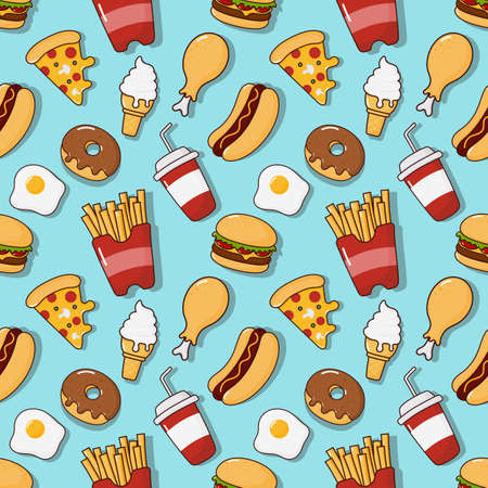 fast food snacks seamless pattern. drinks and dessert isolated on blue background. vector Illustration. Illustration