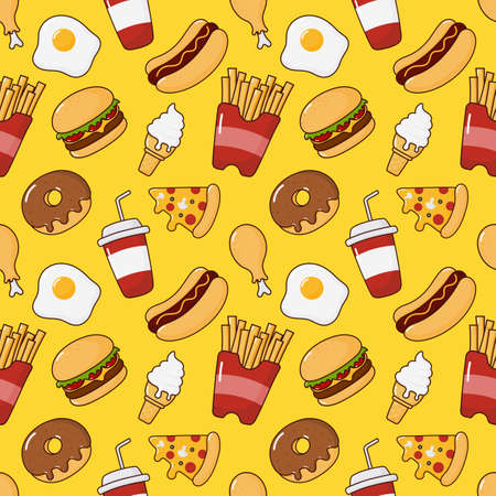 fast food snacks seamless pattern. drinks and dessert isolated on yellow background. vector Illustration. Illustration