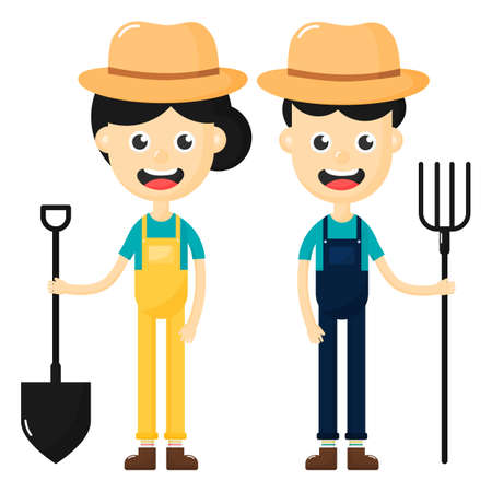 Happy farmers man and woman cartoon character isolated on white background. vector illustration.