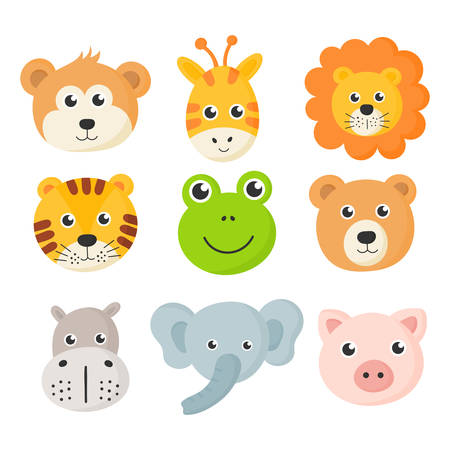 cute animal faces icon set isolated on white background. vector Illustration.