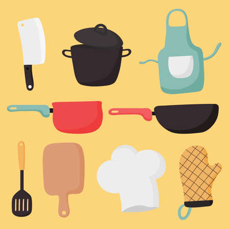 cooking foods and kitchen icons set on yellow background. vector illustration. Ilustração