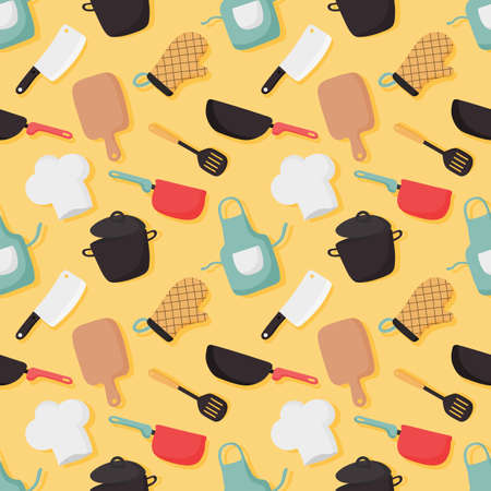 cooking foods seamless pattern and kitchen icons set on yellow background. vector illustration. Vektorové ilustrace