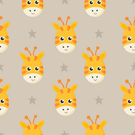 cute seamless pattern with cartoon giraffe face for kids. animal on gray background. vector illustration.