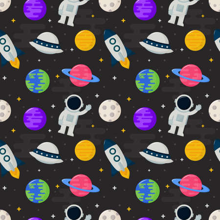 seamless pattern cartoon space. planets isolated on black background. vector Illustration.