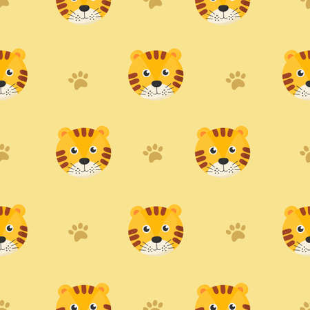 cute seamless pattern with cartoon tigers for kids. animal on yellow background. vector illustration. Illustration