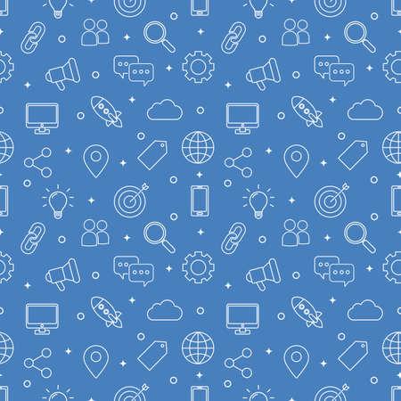 marketing seamless pattern. SEO icons on blue background. vector Illustration. Ilustração