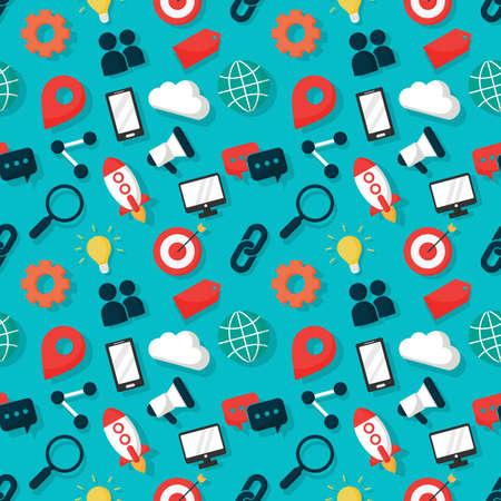 marketing seamless pattern. SEO icons on blue background. vector Illustration. Illustration