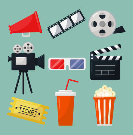 set of cinema icons signs and symbols collection for websites isolated on blue background. illustration vector.