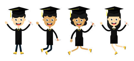Set of happy children in a graduation. students celebrating. cartoon characters Isolated on white background. Vector Illustration.