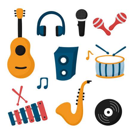 music instruments icon set isolated on white background. vector Illustration.