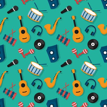 seamless pattern musical instruments isolated on blue background. vector Illustration. Vectores