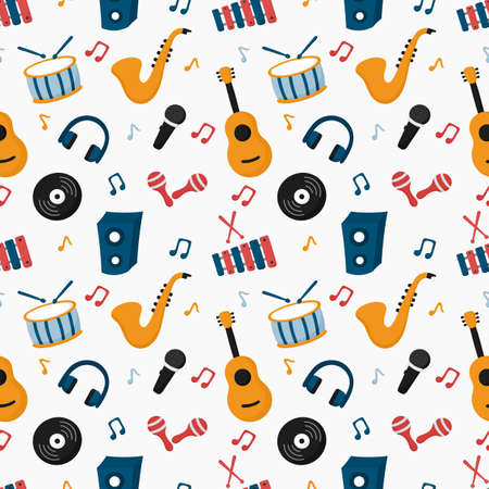 seamless pattern musical instruments isolated on white background. vector Illustration.