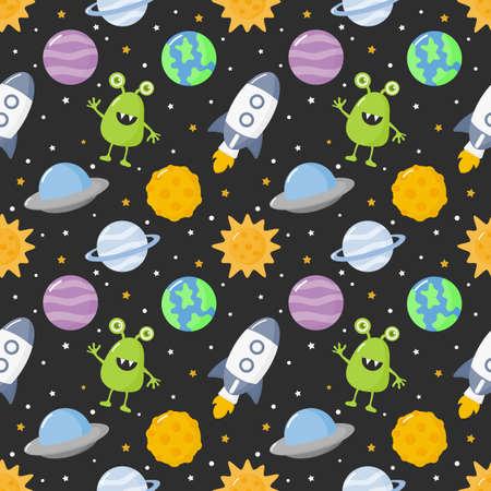 espacio de dibujos animados de patrones sin fisuras. planetas aislados sobre fondo negro. ilustración vectorial.
