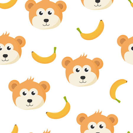 cute seamless pattern with cartoon monkey face and banana for kids. animal on white background. vector illustration.