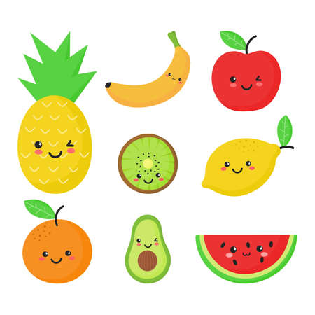 set of tropical fruit kawaii style isolated on white background. vector illustration. Ilustrace