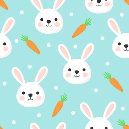 seamless pattern easter rabbit. bunny cartoon style. isolated on blue background. vector illustration.