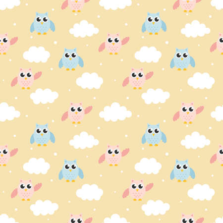 cute seamless pattern with cartoon baby owls and cloud for kids. animal on cream background. vector illustration. Illustration