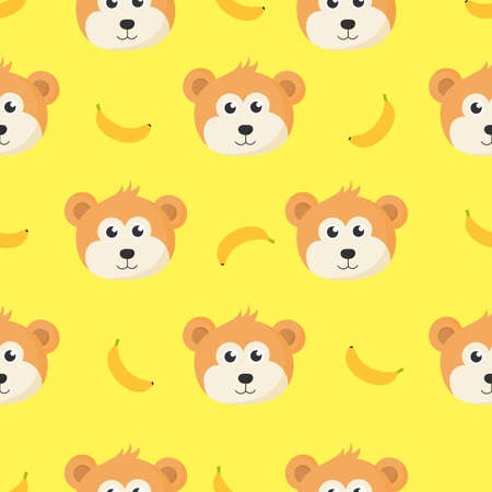 cute seamless pattern with cartoon monkey face and banana for kids. animal on yellow background. vector illustration.