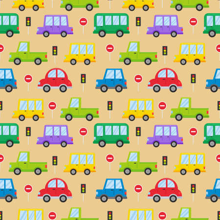 seamless pattern colorful transport cute car cartoon style isolated on cream background. illustration vector. Illustration