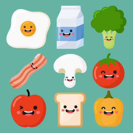 set of breakfast food and drinks kawaii style isolated on blue background. illustration vector. Illusztráció
