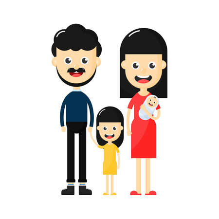 Happy family character. Father, mother ,baby and daughter together. Cartoon style Isolated on white background. Vector Illustration.