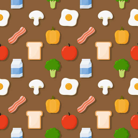 seamless pattern breakfast. food and drinks isolated on brown background. illustration vector. Ilustracja