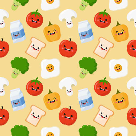 seamless pattern breakfast. food and drinks isolated on cream background. illustration vector.