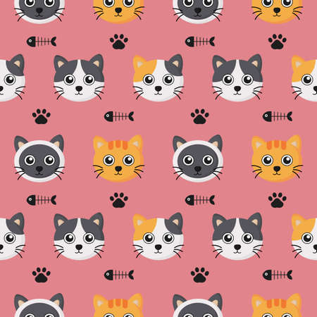 cute seamless pattern with cartoon baby cat and footprint for kids. animal on pink background. vector illustration. Archivio Fotografico - 134431647