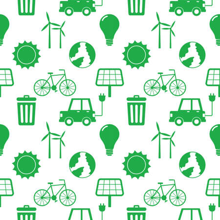 seamless pattern ecology icons. green energy, eco isolated on white background. illustration vector.
