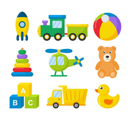 cartoon transport toys icon set. cars, helicopter, rocket, balloon and plane isolated on white background. illustration vector.