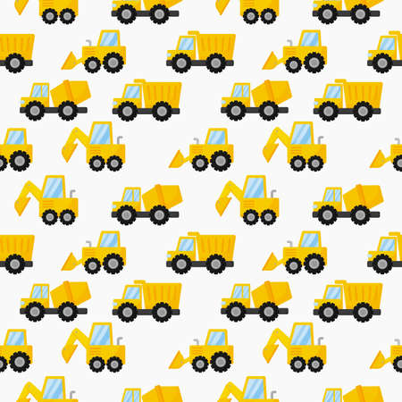 tractor, excavator, bulldozer and trucks seamless pattern. construction equipment on white background. illustration vector.  イラスト・ベクター素材