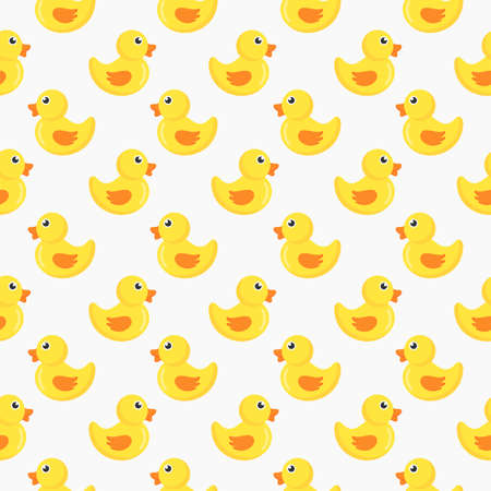 cute ducks seamless pattern isolated on white background. vector Illustration.