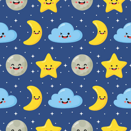 seamless pattern stars, moon and clouds. kawaii wallpaper on blue background. baby cute pastel colors. vector Illustration.
