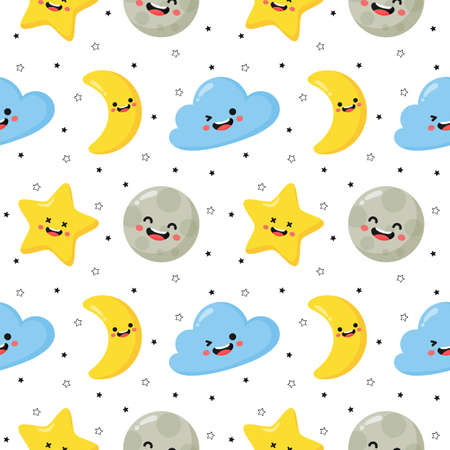 seamless pattern stars, moon and clouds. kawaii wallpaper on white background. baby cute pastel colors. vector Illustration. Illustration