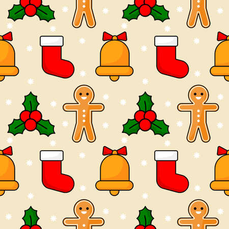 christmas seamless pattern isolated on cream background. vector Illustration.