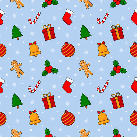christmas seamless pattern isolated on blue background. vector Illustration.
