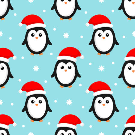 merry christmas seamless pattern with penguins isolated on blue background. Vector Illustration. Векторная Иллюстрация