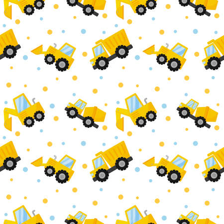 tractor, excavator, bulldozer and trucks seamless pattern. construction equipment on white background. illustration vector. Stock Illustratie