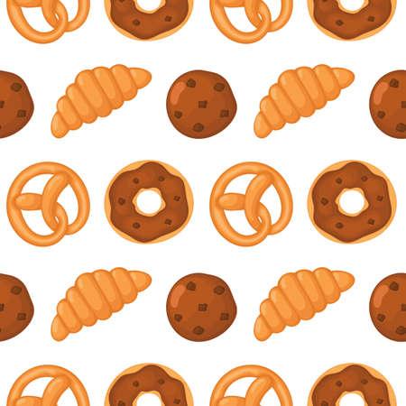 modèle sans couture de boulangerie. desserts sur fond blanc pour café ou pâtisserie. vecteur d'illustration. Vecteurs
