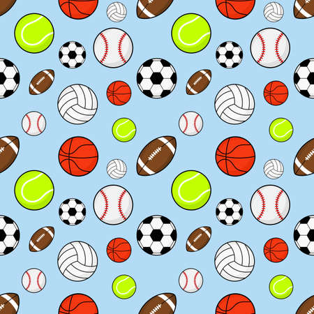seamless pattern balls. football, rugby, baseball, basketball, tennis and volleyball isolated on blue background. vector illustration. Ilustração