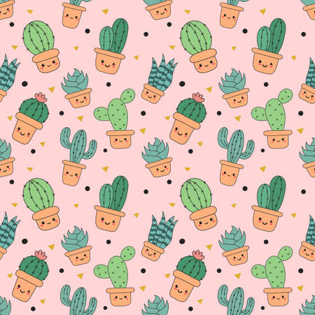 kawaii seamless pattern cute funny cactus cartoon isolated on pink background. illustration vector.