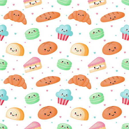 kawaii seamless pattern cute funny sweet and dessert cartoon style isolated on white background. illustration vector.