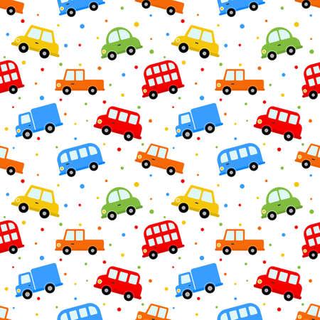 nahtlose Muster bunte Transport niedlichen Auto-Cartoon-Stil isoliert auf weißem Hintergrund. Abbildung Vektor.
