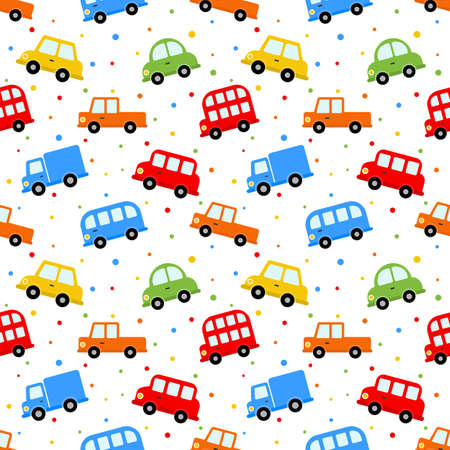 seamless pattern colorful transport cute car cartoon style isolated on white background. illustration vector. 版權商用圖片 - 134432120